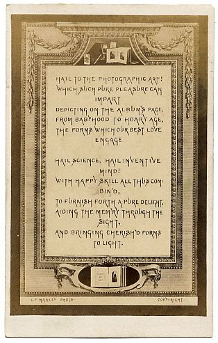 A Verse Relating To Photographic Art Designed Be The First Carte In An Album Nd De Visite Stereographica