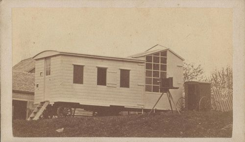 Unidentified Photographer A Photographic Studio On Wheels With Tripod Mounted Camera And Van 1860s 1870s Carte De Visite