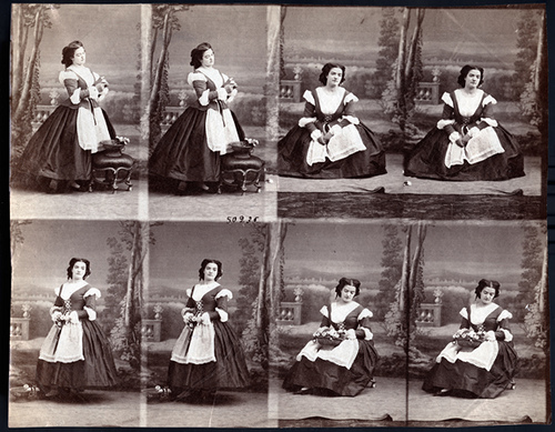 Eight Carte De Visite Portraits Of An Actress Goddess William Tell 1860 Ca Uncut Sheet Private Collection Jack And Beverly Wilgus