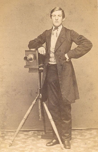 Unidentified Photographer Portrait Of A Man Standing Beside Camera On Tripod Nd Carte De Visite Private Collection Graham Pilecki LL 74084