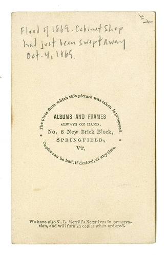 JD Powers Springfield Vt Backmark For No 8 New Brick Block 1869 Carte De Visite The Jeffrey Kraus Collection