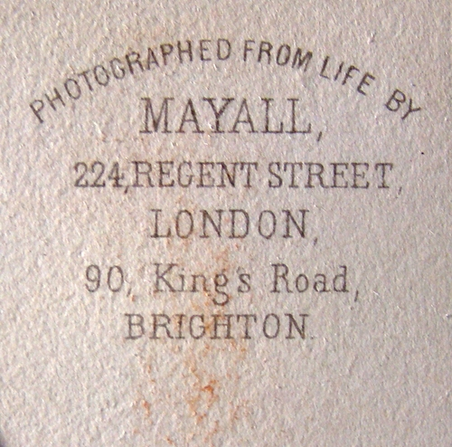 Backmark For Mayall 224 Regent Street Lond 90 Kings Road Brighton Nd Carte De Visite Back Cropped Private Collection Of Elton Michael LL 82332
